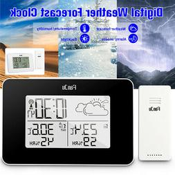 LCD Digital Alarm Clock Weather Station Wireless Sensor Hygr