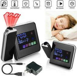 LED Digital Alarm Clock Projection LCD Display With Temperat