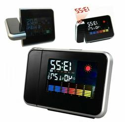 LED Digital Projection Alarm Clock Weather Station with Temp