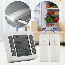 2 Sensors Wireless Digital Freezer Alarm Thermometer Fridge