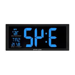 AcuRite 75152M Oversized Blue LED Clock with Indoor Temperat