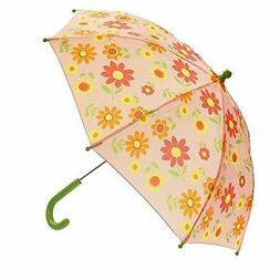 Childrens Girls Pink Green Floral Flower Rain Umbrella