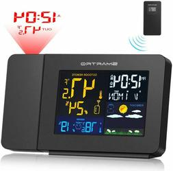 SMARTRO Projection Alarm Clock for Bedrooms with Weather Sta