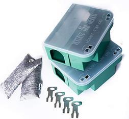 Venditor 2 Pack Rat Bait Station with 4 Keys Heavy Duty Lock