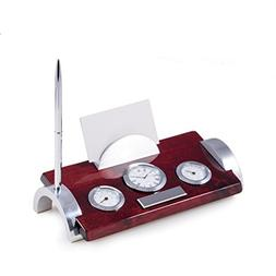 Rosewood and Metal Weather Station with Card Holder Clock an