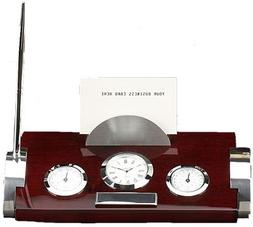 Bey-Berk Rosewood and Metal Weather Station with Card Holder
