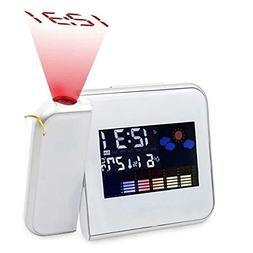 FlorLife Square Projection Digital Weather LCD Snooze Alarm