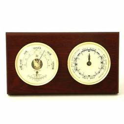 New Tide Clock & Barometer With Thermometer On Mahogany Wood