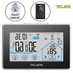 TOUCH SCREEN WEATHER STATION INDOOR OUTDOOR TEMPERATURE HUMI