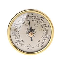 Hoiert 72mm Wall Hanging Barometer 1070hPa Gold Color Round