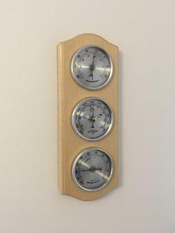 Weather Station Barometer Thermometer Hygrometer Silver Dial
