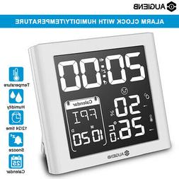 AUGIENB Weather Station Digital Alarm Clock Calendar Thermom