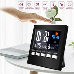 Weather Station Hygrometer Thermometer Desk Alarm Clock F