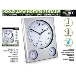 Weather Station Wall Clock - Indoor Temperature Humidty Disp