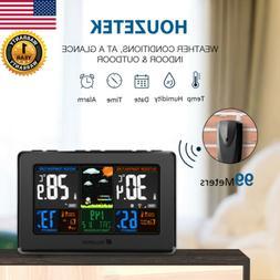 Wireless Digital LCD Color Weather Station Clock Calendar Hu