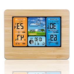 AOZBZ Digital Wireless Weather Station Alarm Clock Snooze wi