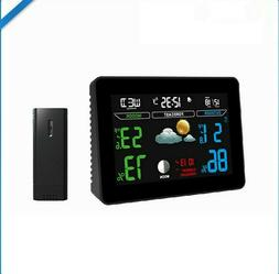 Wireless Weather Station Digital Alarm Clock LCD Large Displ