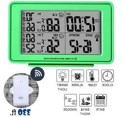 Wireless Weather Station Digital Alarm Clock LCD Large Displ